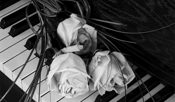 Black and white photo of roses on a piano