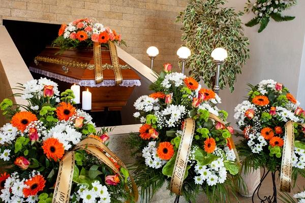 flower sprays around a casket 2