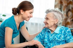 Female nursing home volunteer.